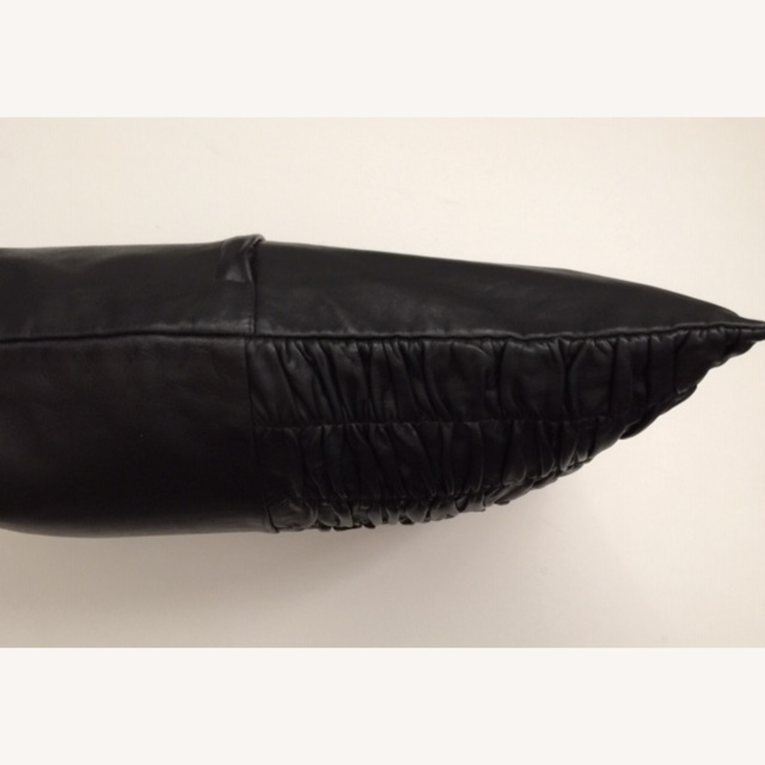 Modern Ruched Leather Pillow - image-3