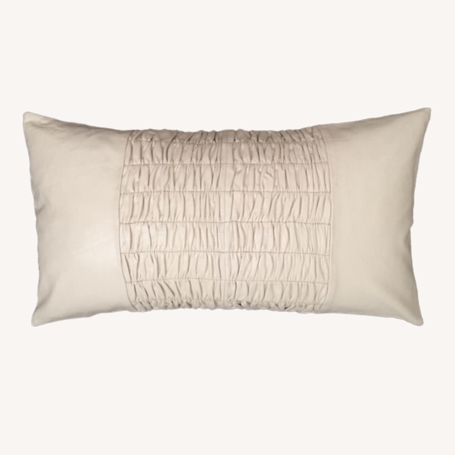 Modern Ruched Leather Pillow - image-0