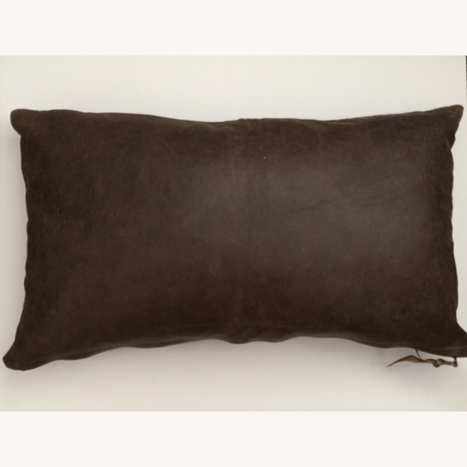Botanical Leaf Embroidered Leather Pillow