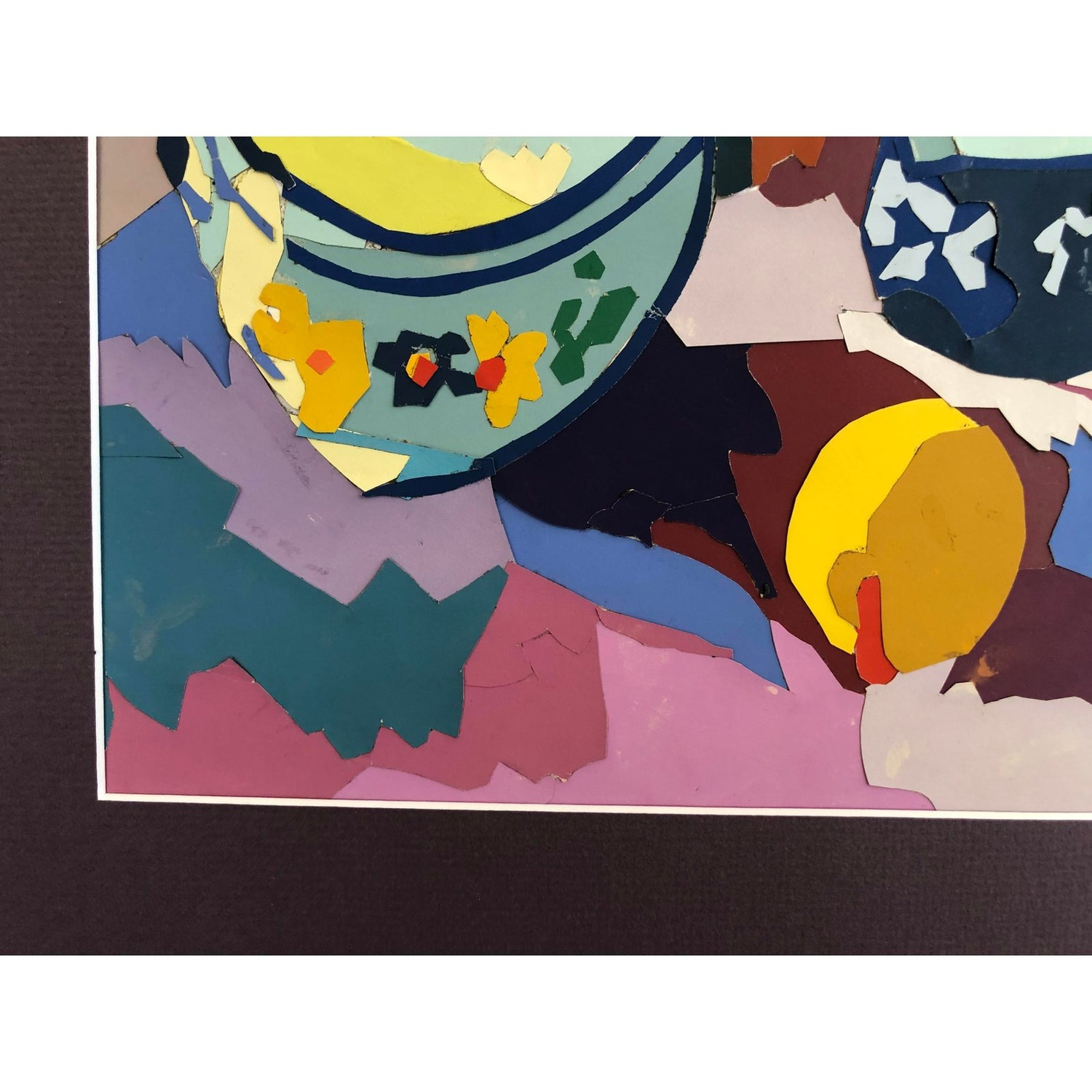 Mid Century Painting Still Life Paper Assemblage - image-5