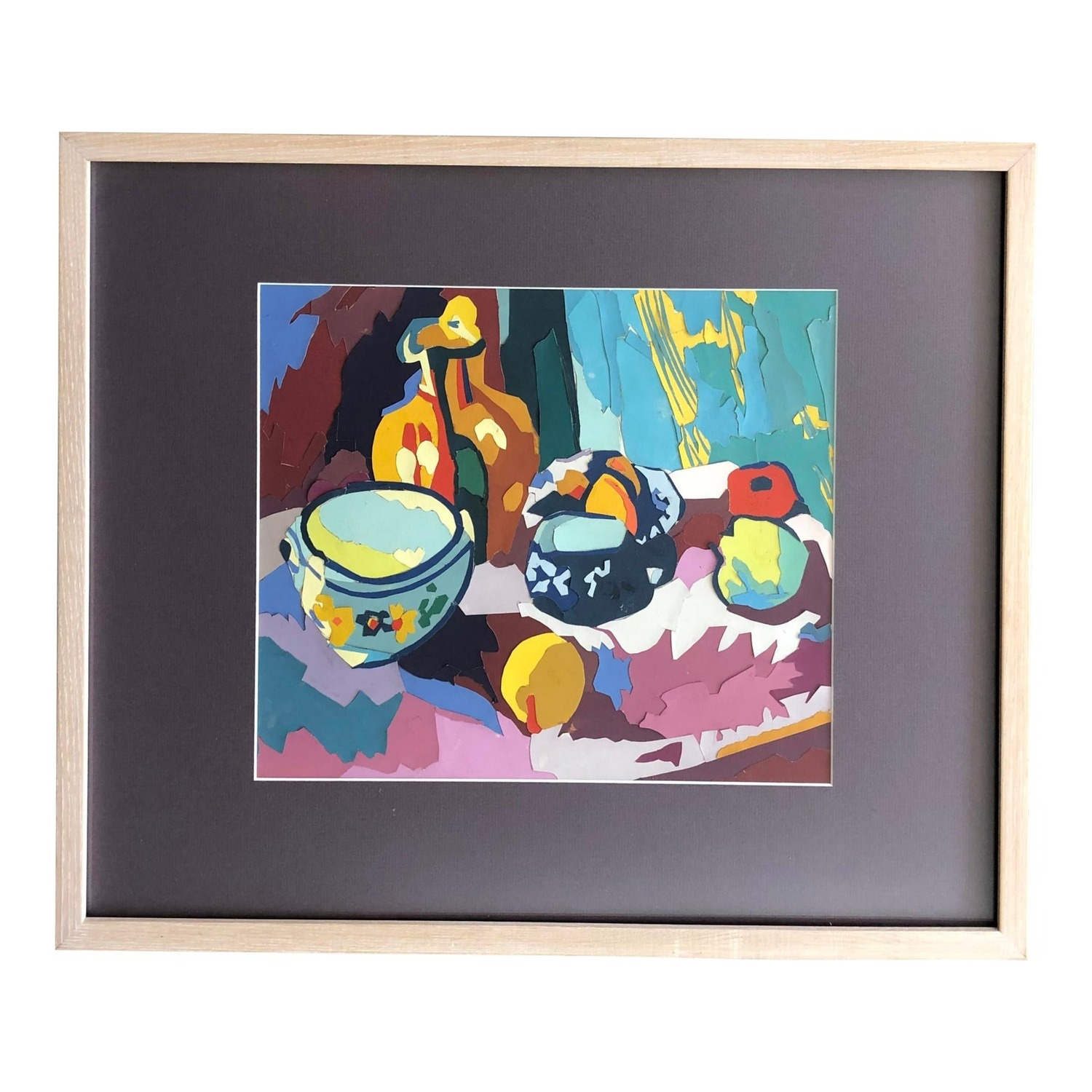 Mid Century Painting Still Life Paper Assemblage - image-0