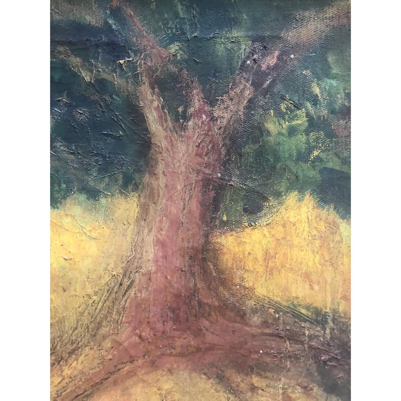 Vintage Landscape Painting Primitive Folk Art - image-2