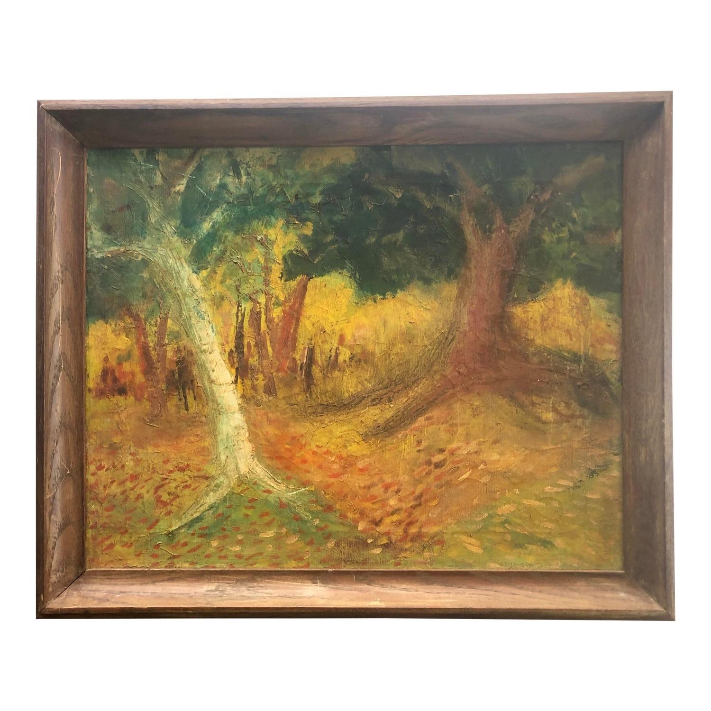 Vintage Landscape Painting Primitive Folk Art - image-0