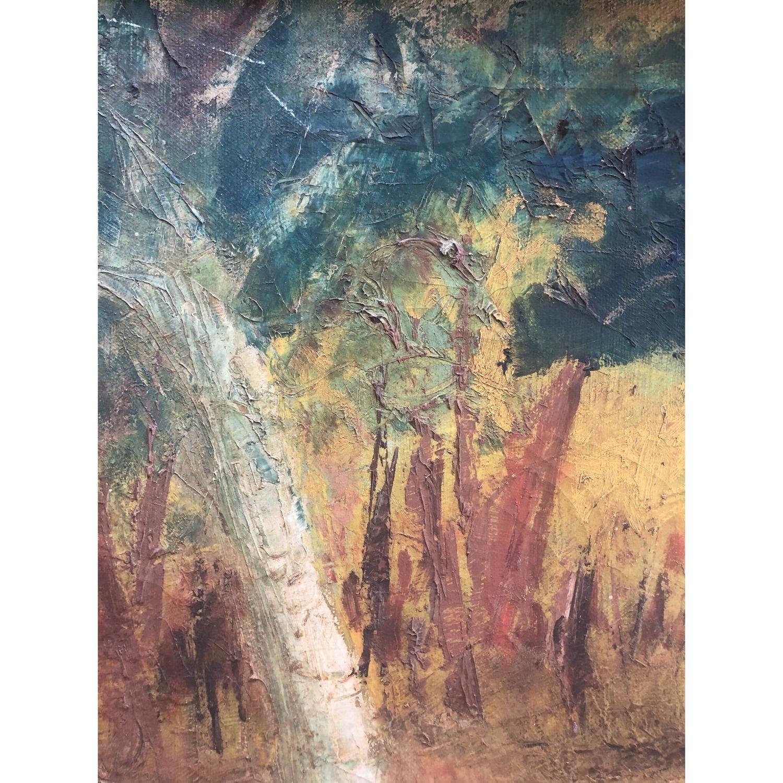 Vintage Landscape Painting Primitive Folk Art - image-1