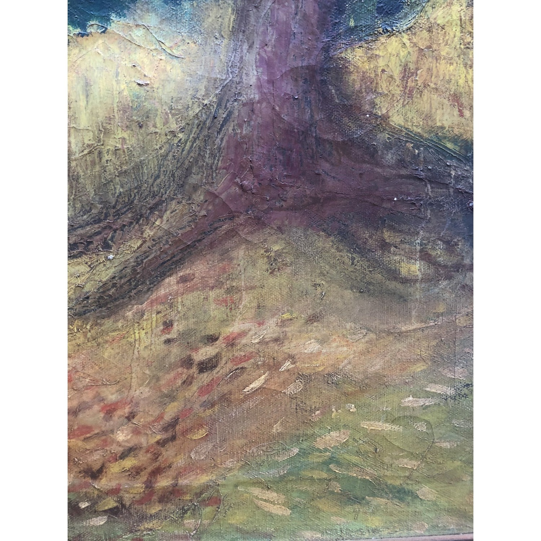 Vintage Landscape Painting Primitive Folk Art - image-3