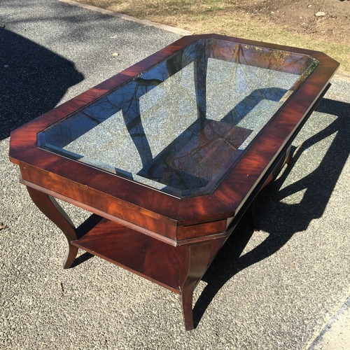 Used Wood and Glass Coffee Table for sale on AptDeco