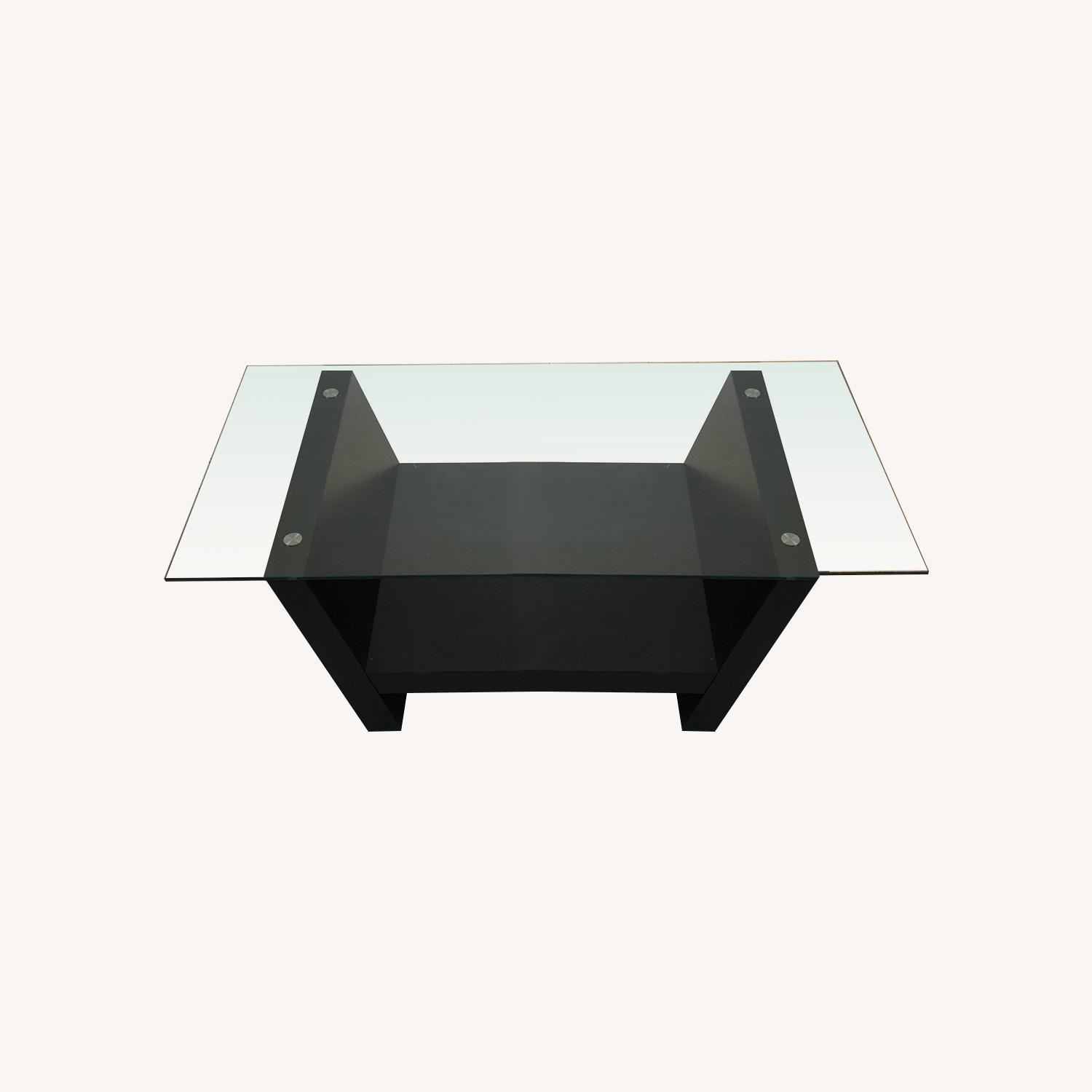 Glass Top Dark Brown Coffee Table - image-0