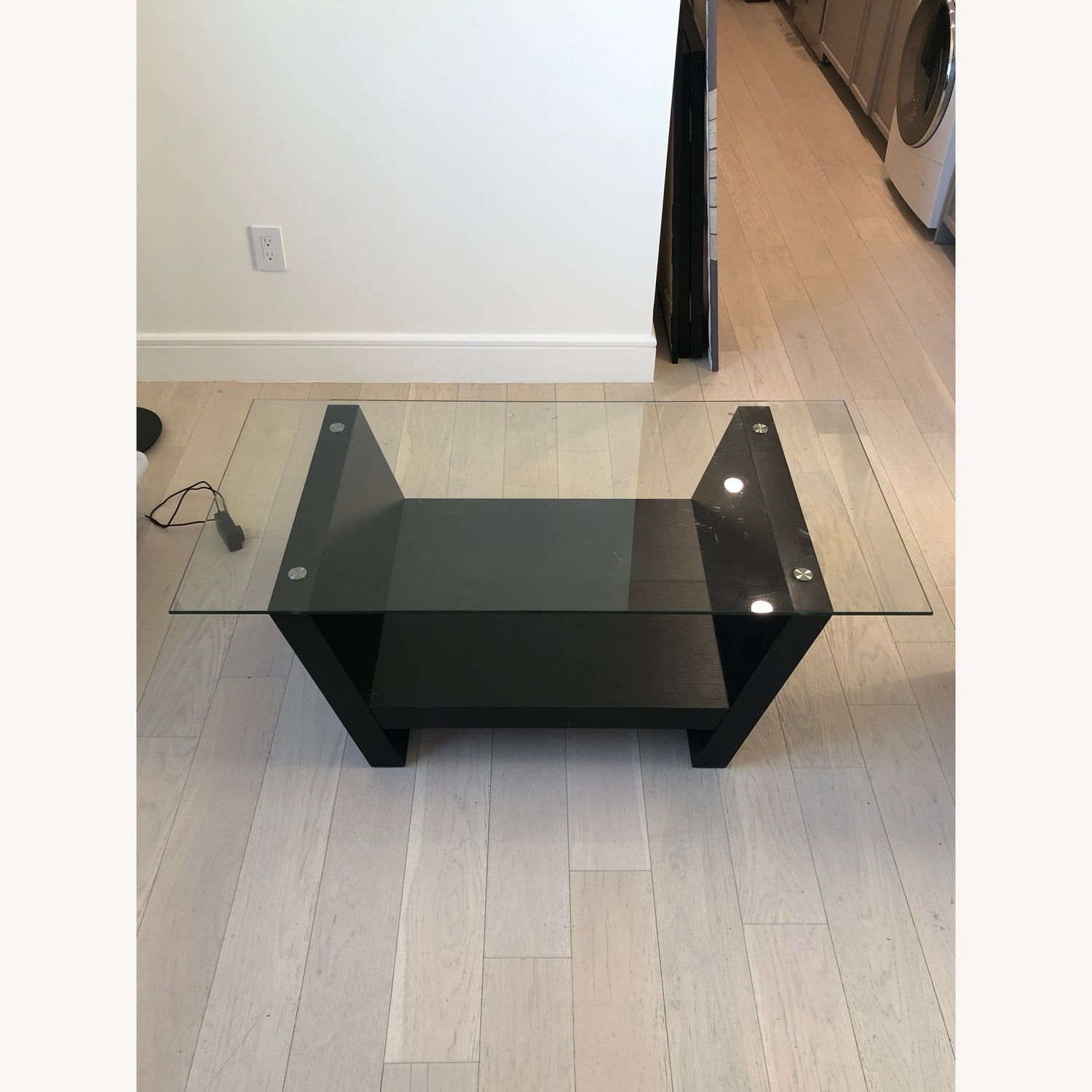 Glass Top Dark Brown Coffee Table - image-1