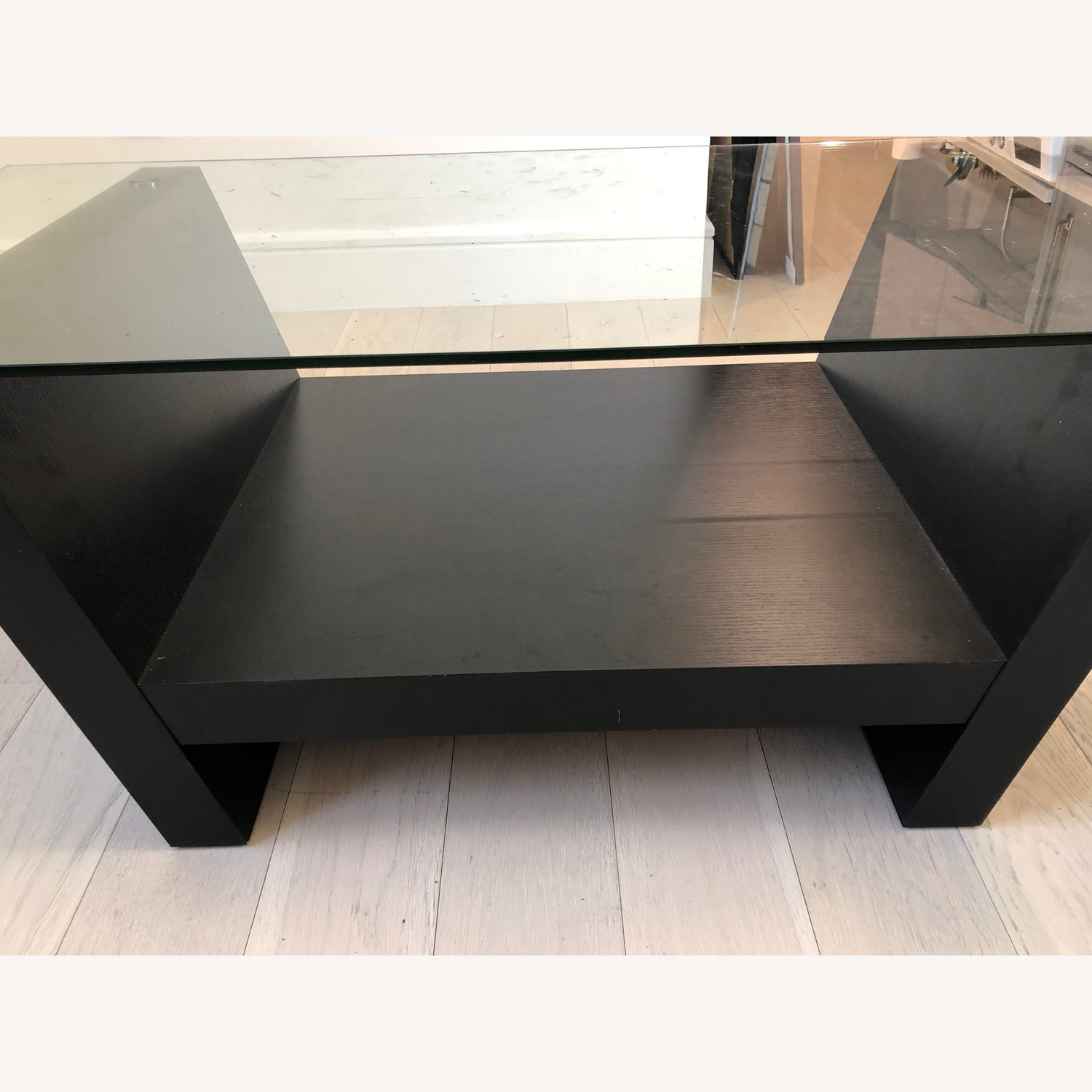 Glass Top Dark Brown Coffee Table - image-2