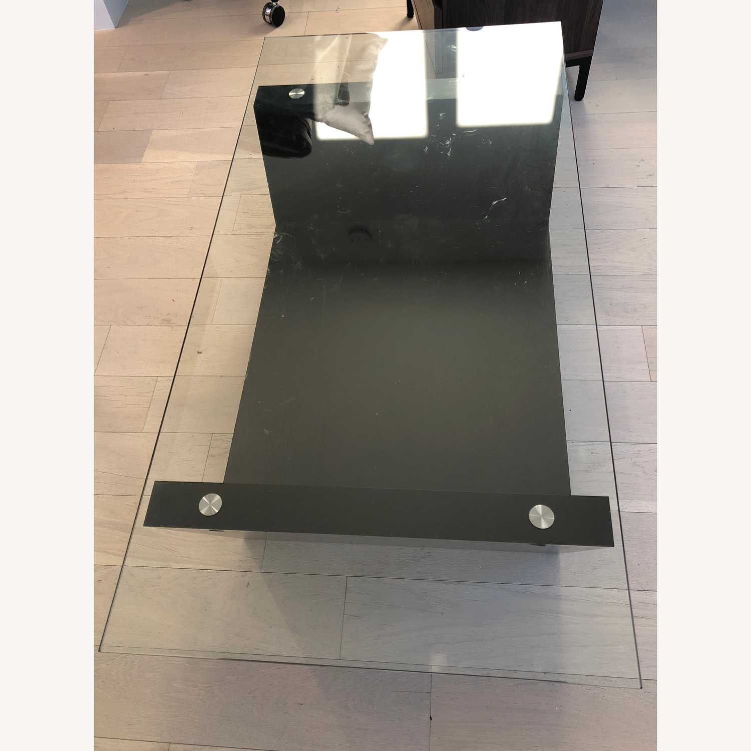Glass Top Dark Brown Coffee Table - image-3
