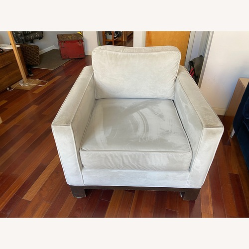 Used ABC Carpet Gray Suede Chair for sale on AptDeco