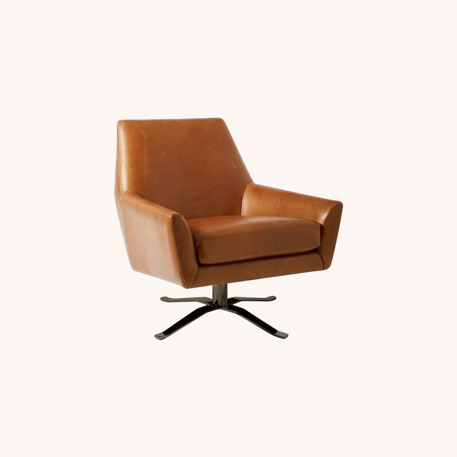 West Elm Lucas Leather Swivel Base Chair
