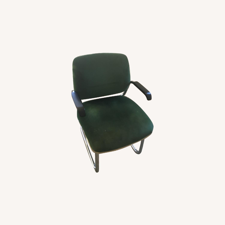 Green Velvet Chrome Cantilever Chair