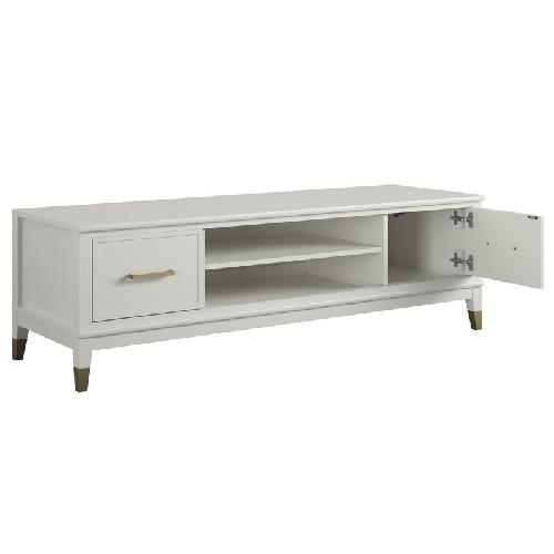 Used Joss & Main White TV Stand w/ Gold Accents for sale on AptDeco