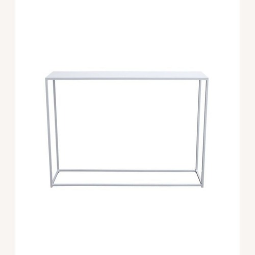 Used CB2 Mill Mini White Console Table for sale on AptDeco