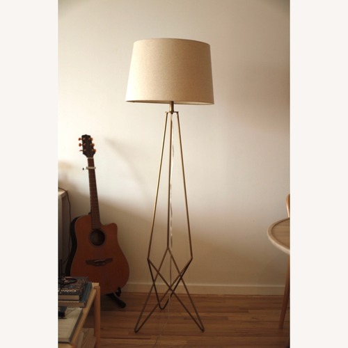 Used Gold Floor Lamp with Linen Shade for sale on AptDeco