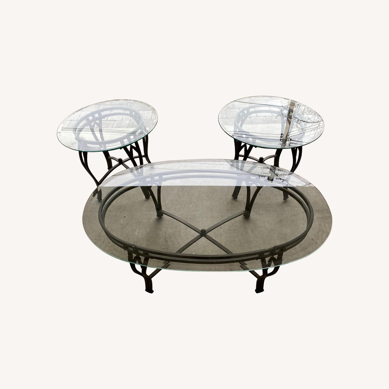Raymour & Flanigan Glass Coffee & End Table - image-0