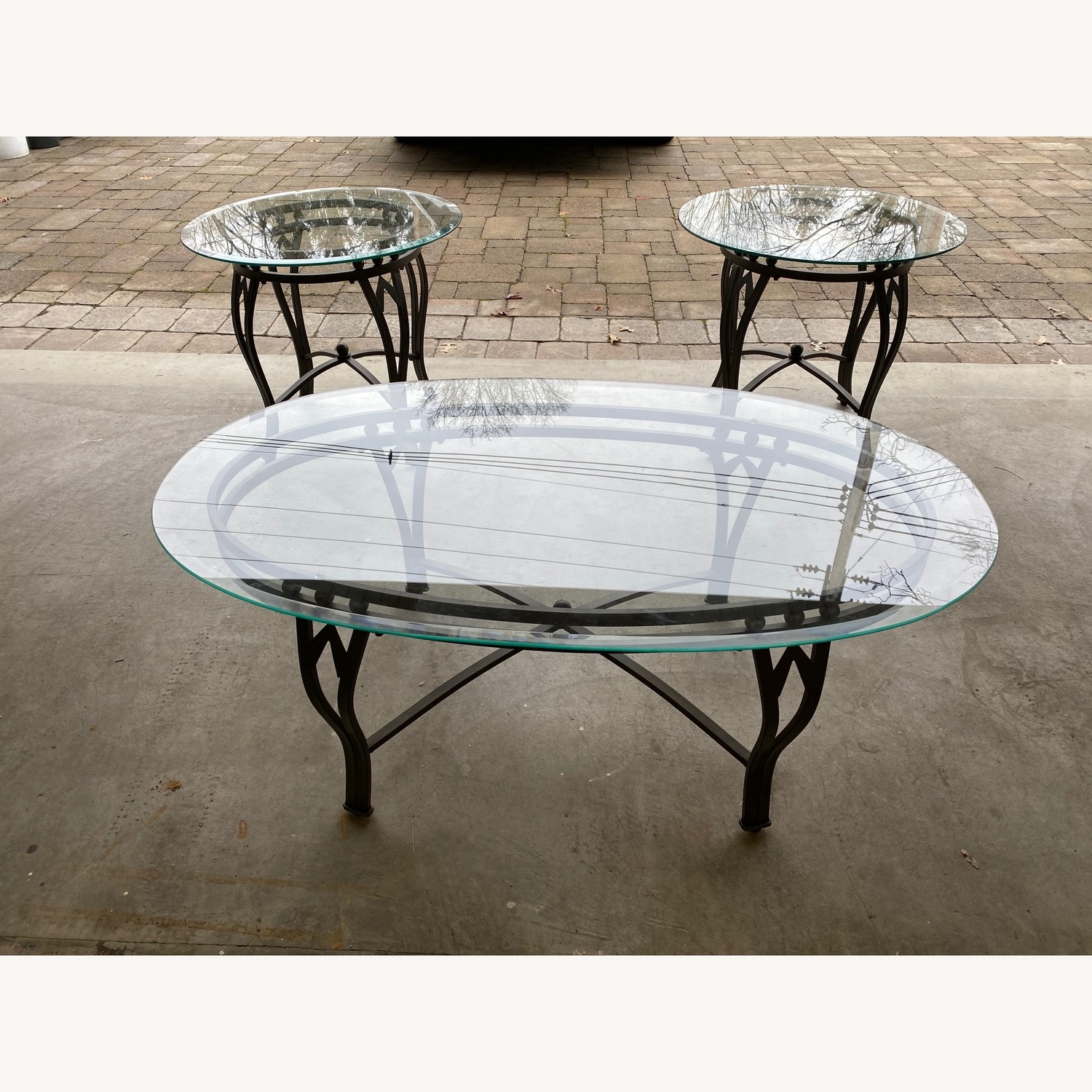 Raymour & Flanigan Glass Coffee & End Table - image-2