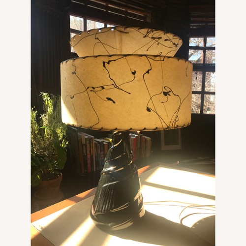 Used Black Mid Century Table Lamp with Atomic Shade for sale on AptDeco
