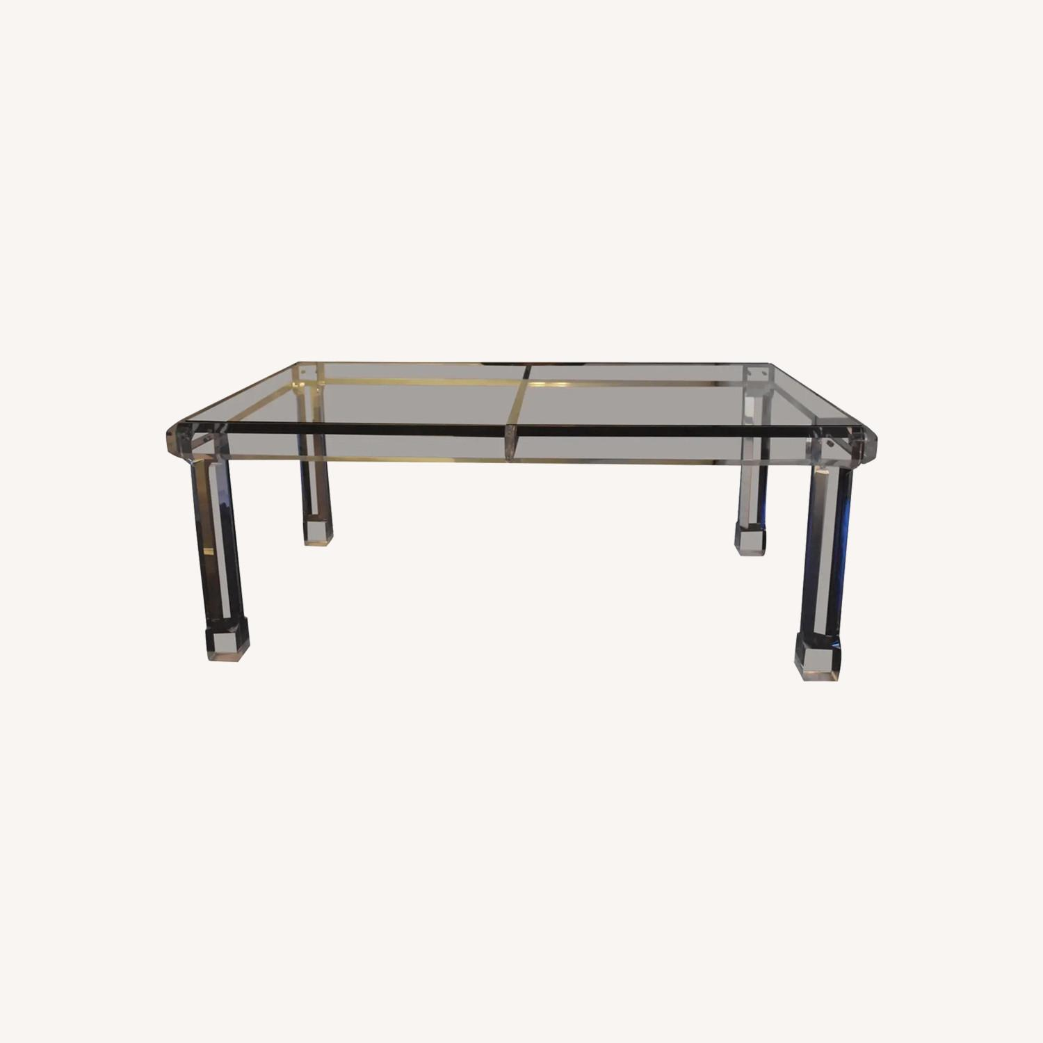 1970s Glass & Lucite Dining Room Table - image-0