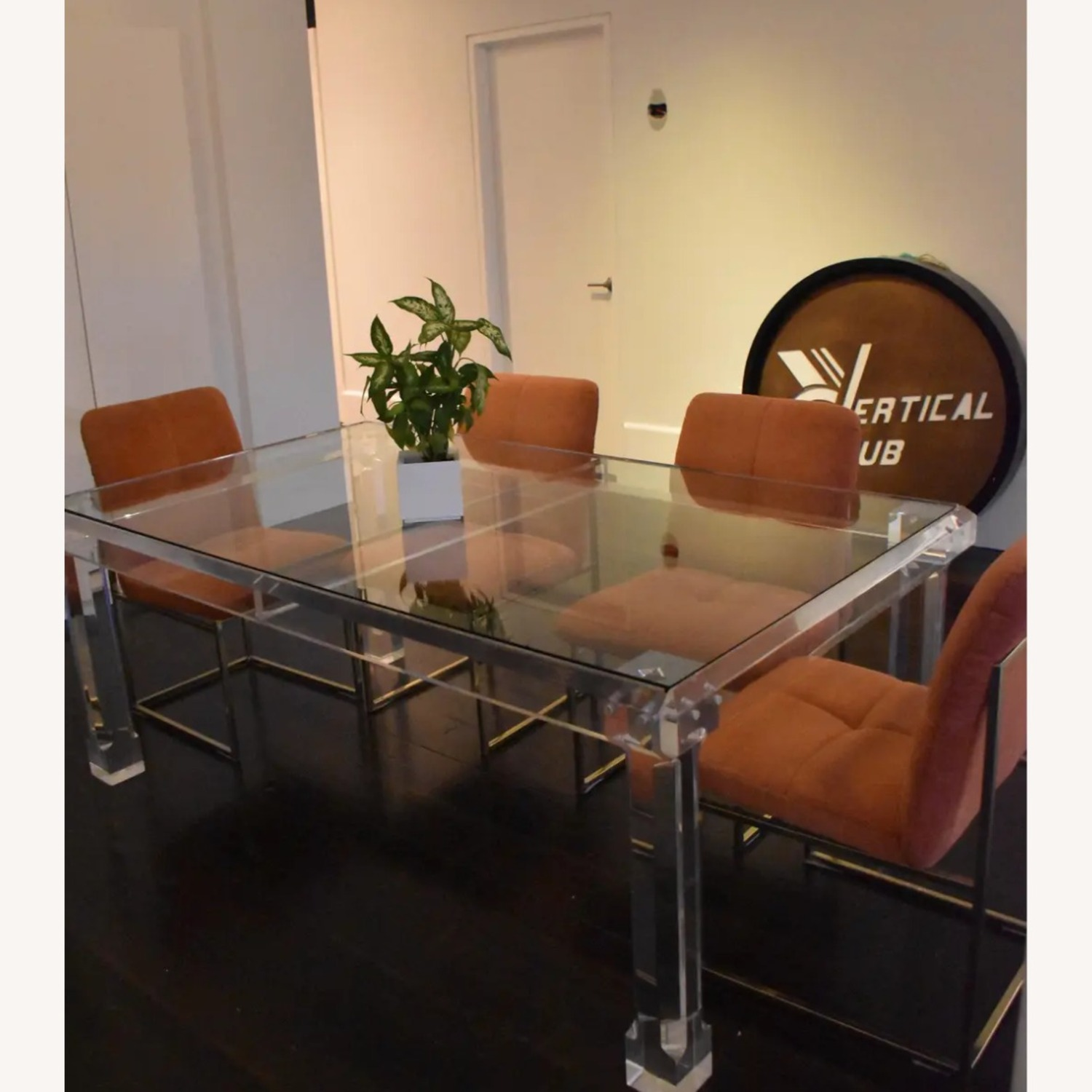 1970s Glass & Lucite Dining Room Table - image-5