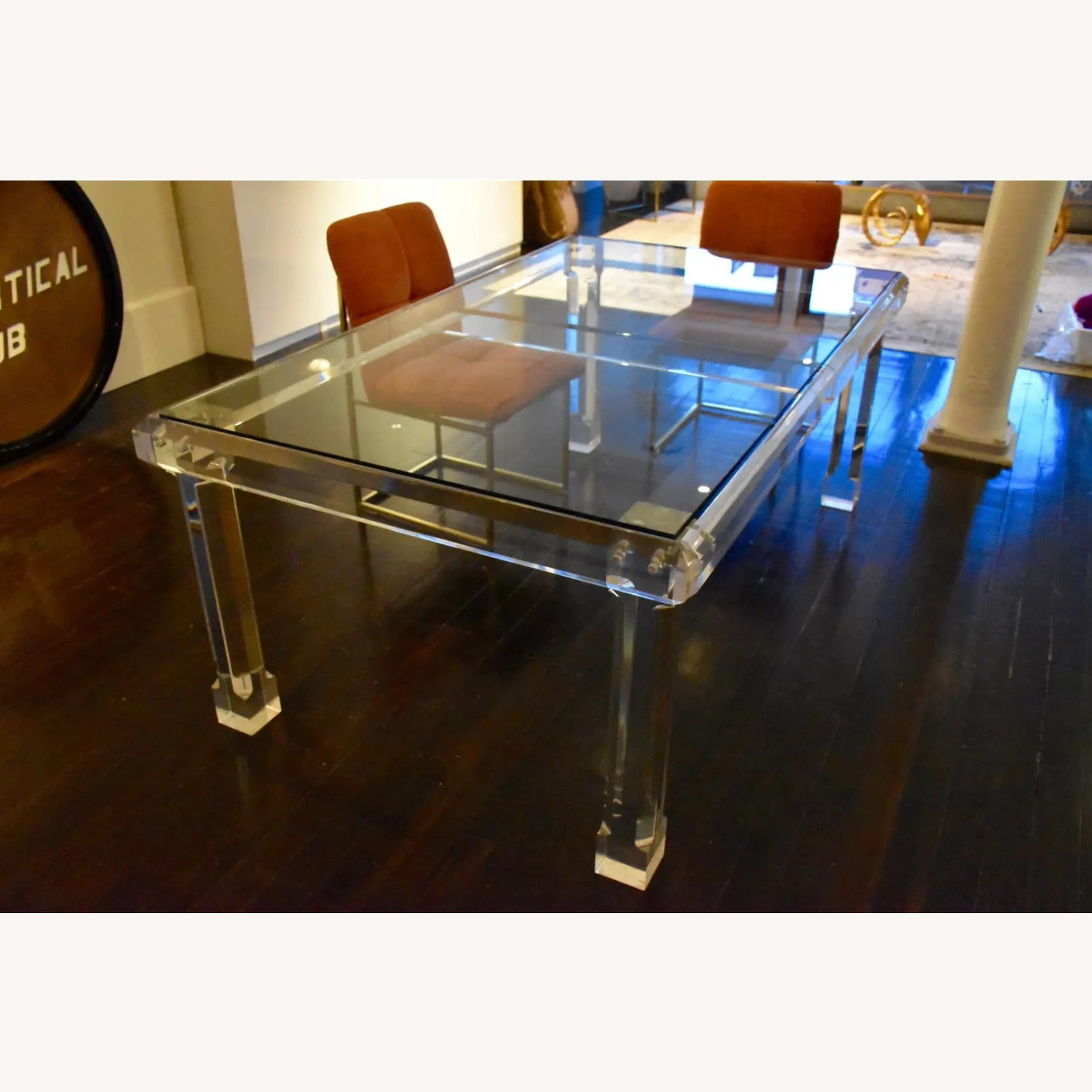 1970s Glass & Lucite Dining Room Table - image-3