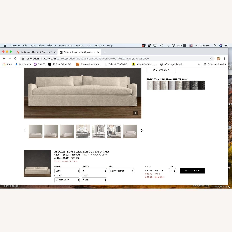 Restoration Hardware Belgian Slipcovered Sofa - image-4