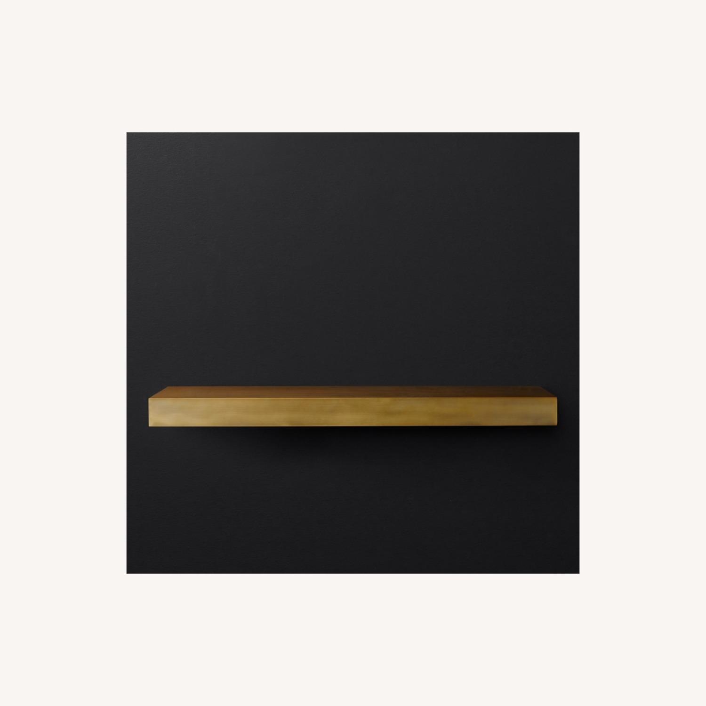 Restoration Hardware Floating Metal Shelf in Brass - image-3