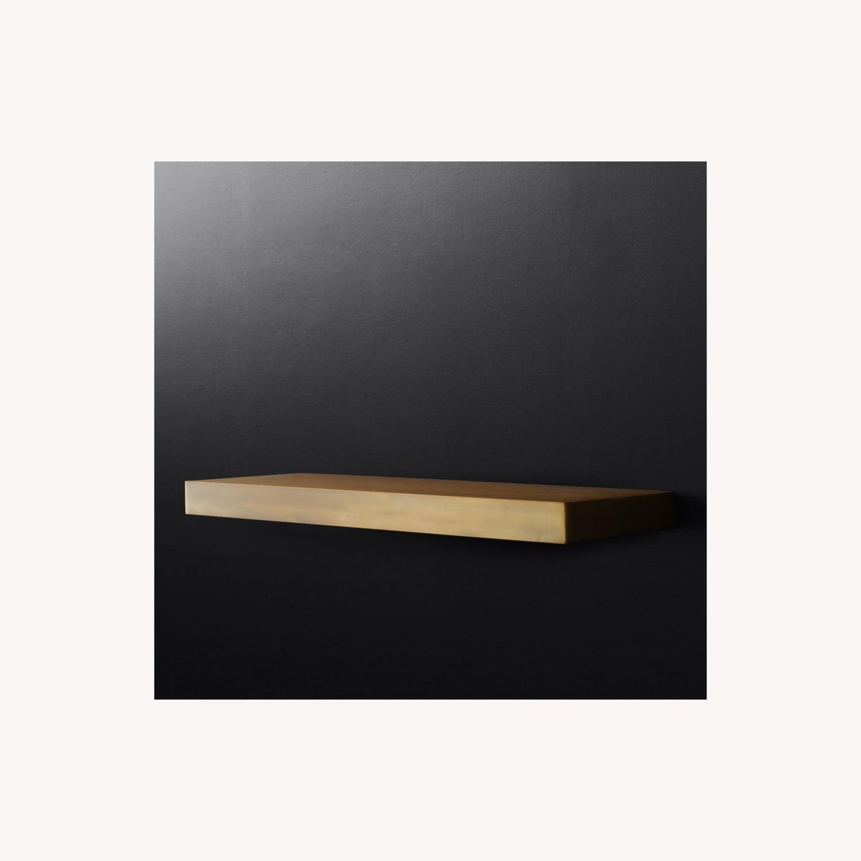 Restoration Hardware Floating Metal Shelf in Brass - image-2