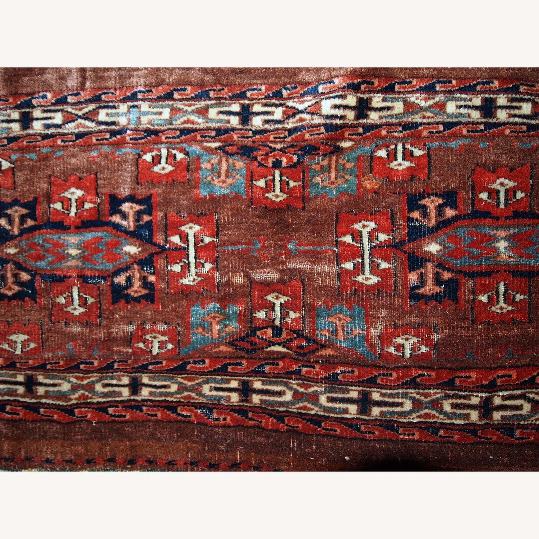 Handmade Antique Collectible Turkmen Yomud Rug - image-4