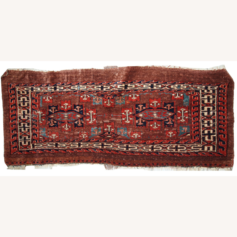Handmade Antique Collectible Turkmen Yomud Rug - image-1