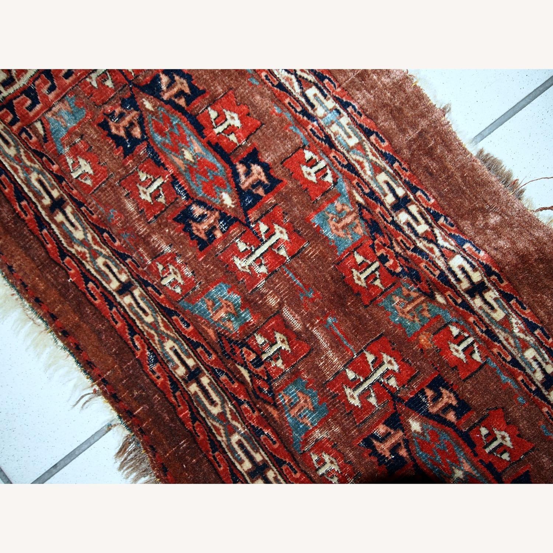 Handmade Antique Collectible Turkmen Yomud Rug - image-6