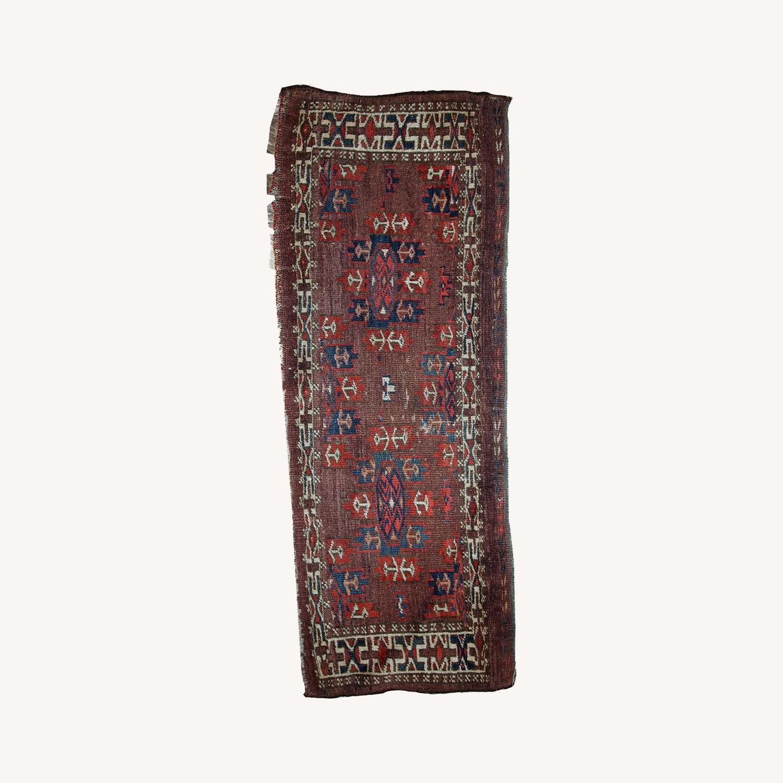 Handmade Antique Collectible Turkmen Yomud Rug - image-0