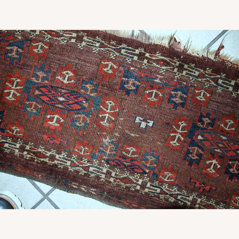 Handmade Antique Collectible Turkmen Yomud Rug - image-7