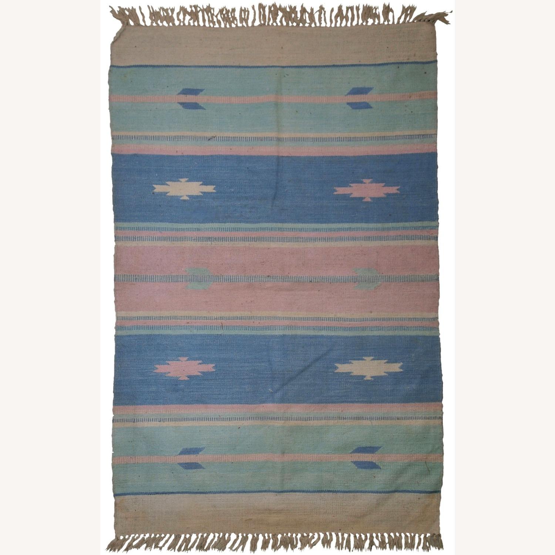 Handmade Vintage Indian Dhurri Rug - image-1