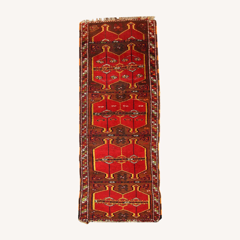 Hand made Antique Collectible Turkish Yastik Rug - image-0