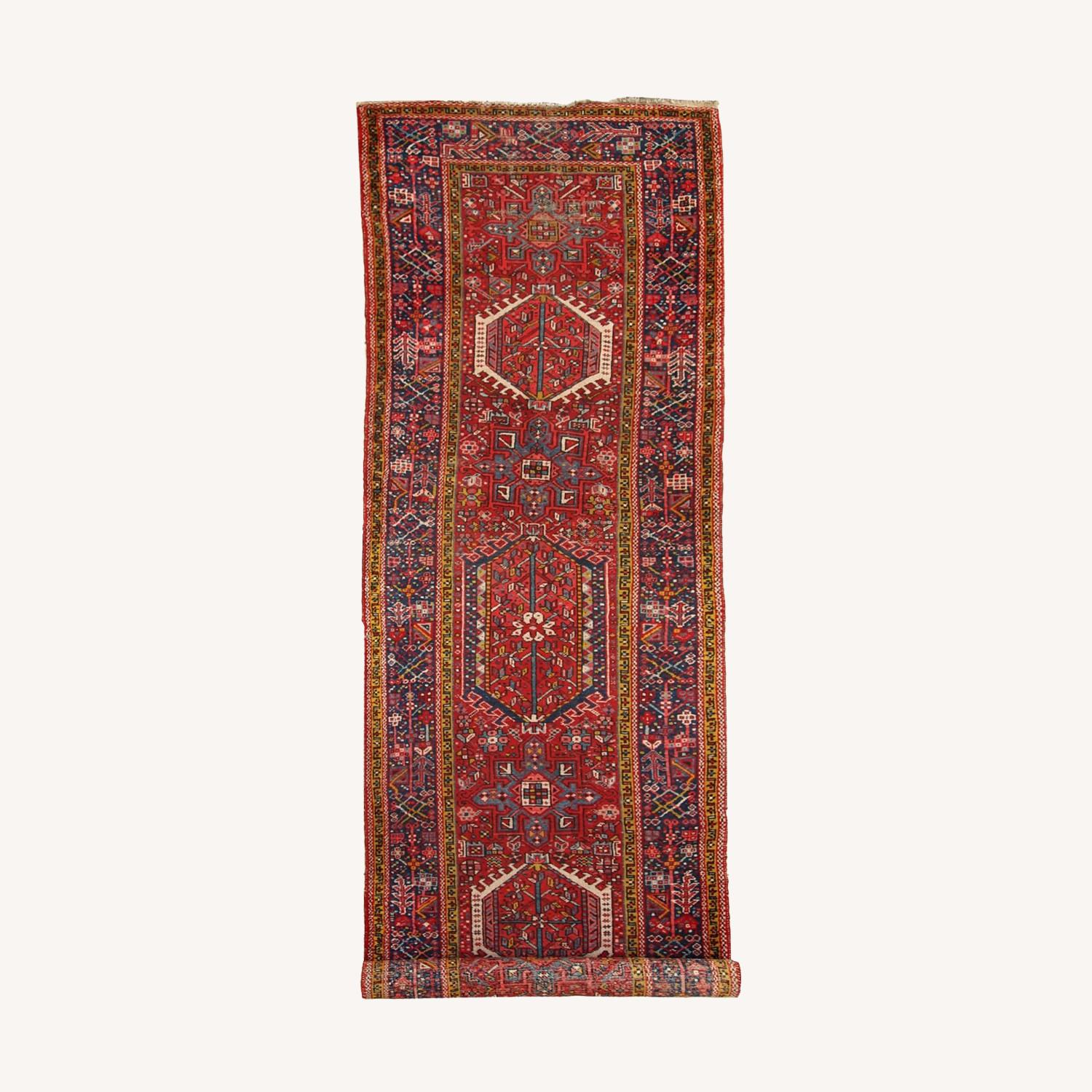 Handmade Antique Persian Heriz Runner - image-0