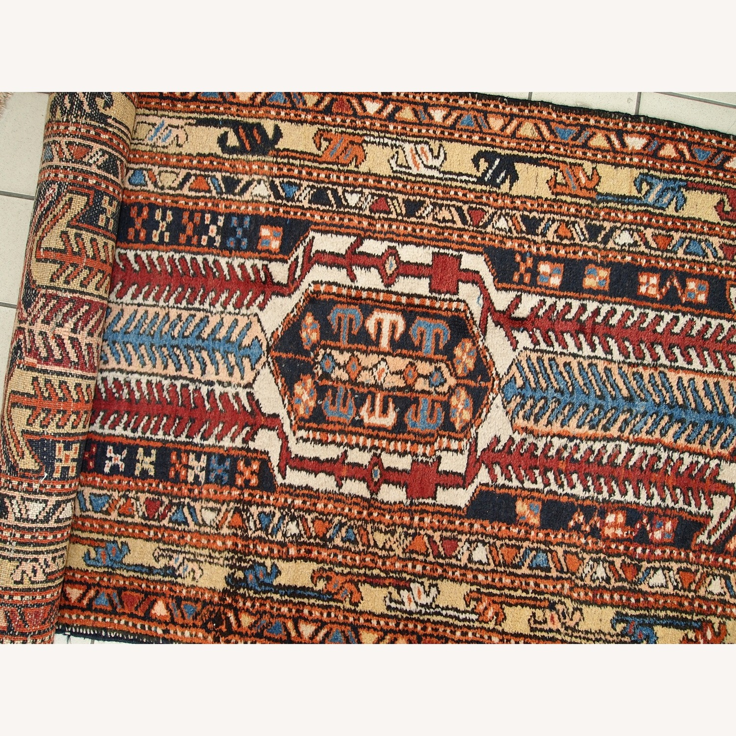 Handmade Antique Persian Heriz Runner - image-2