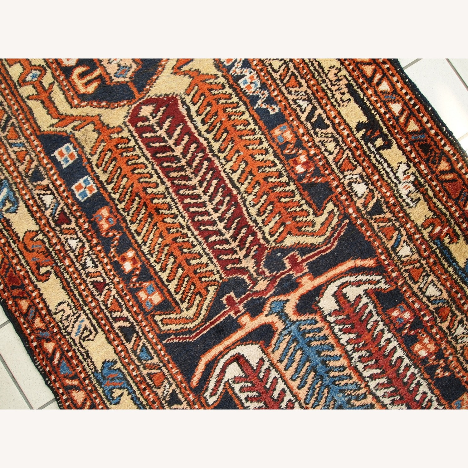 Handmade Antique Persian Heriz Runner - image-8