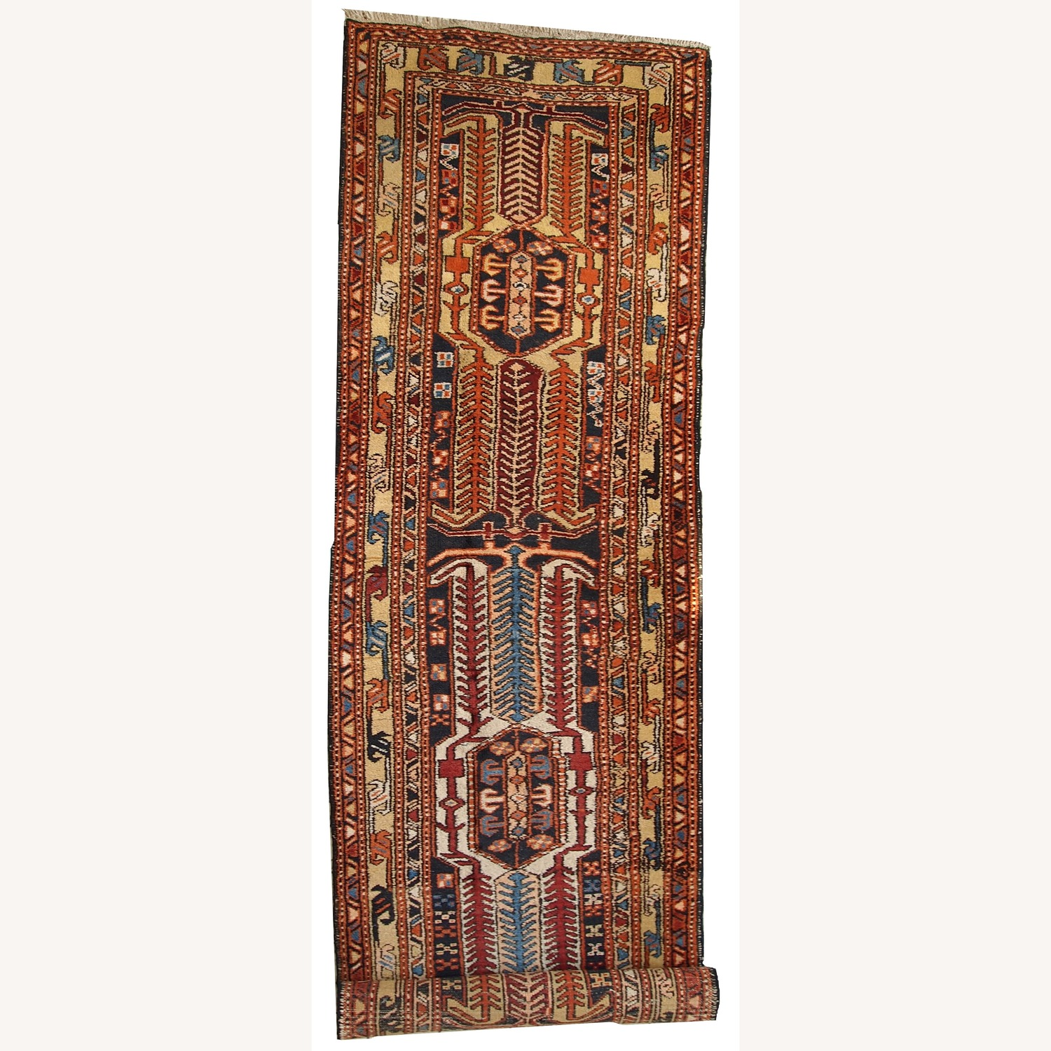 Handmade Antique Persian Heriz Runner - image-1
