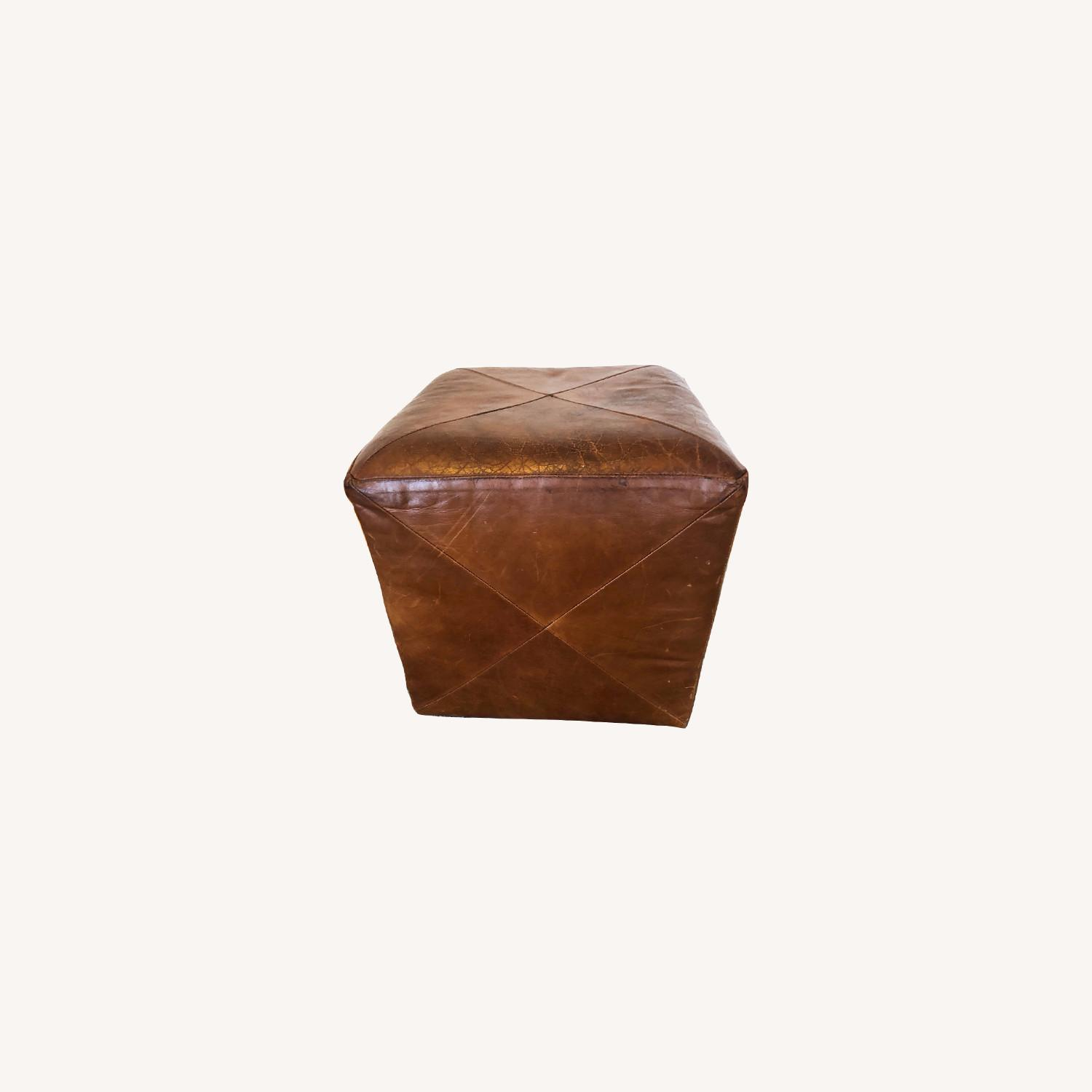 Crate & Barrel Leather Cube Ottoman - image-0