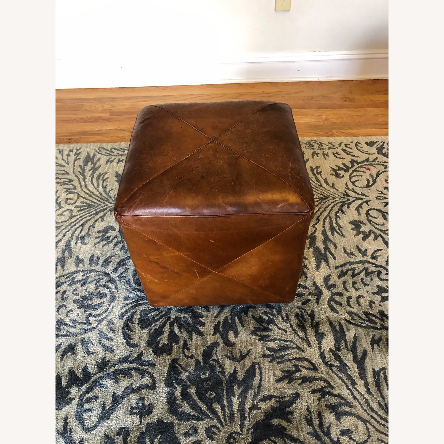 Crate & Barrel Leather Cube Ottoman - image-1