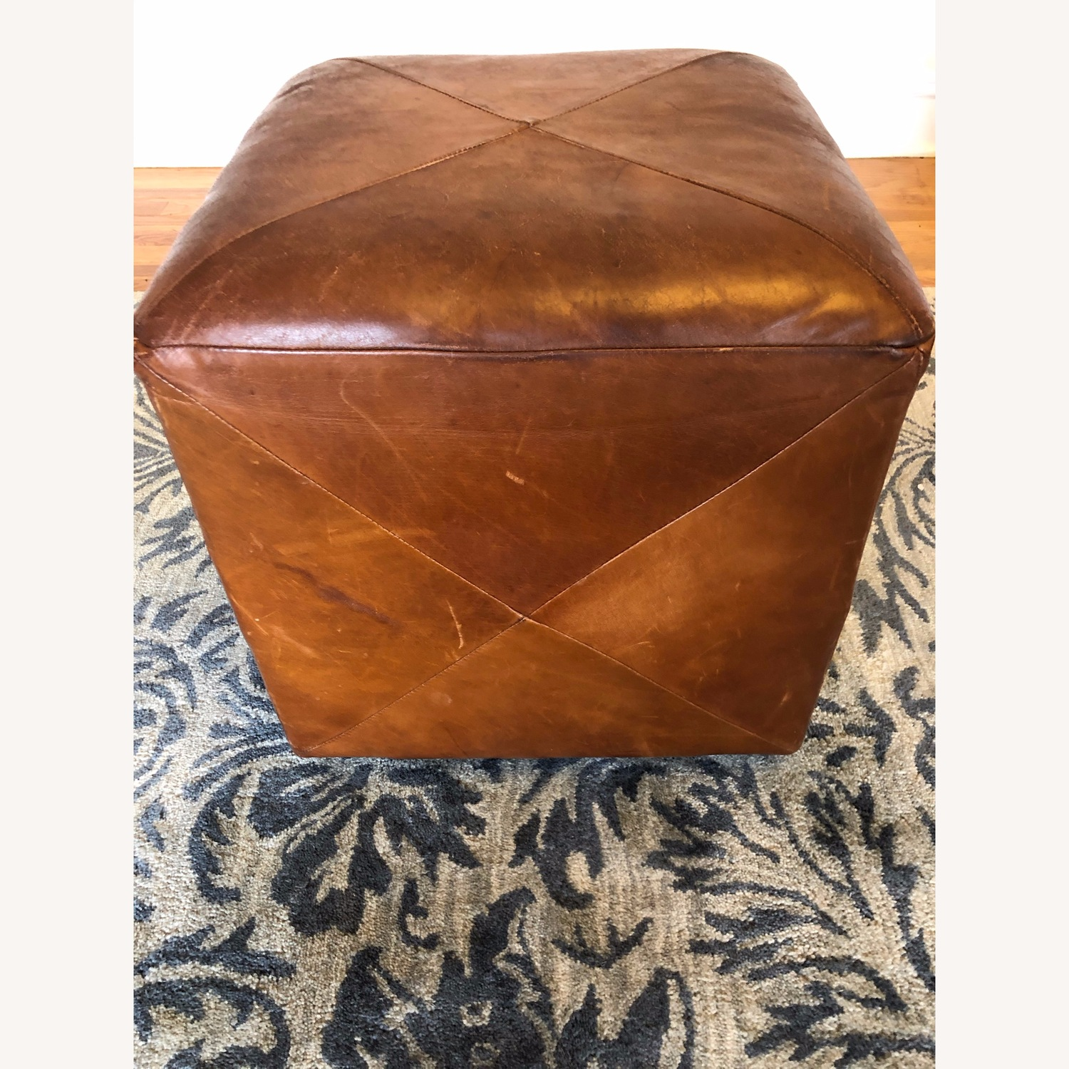 Crate & Barrel Leather Cube Ottoman - image-3