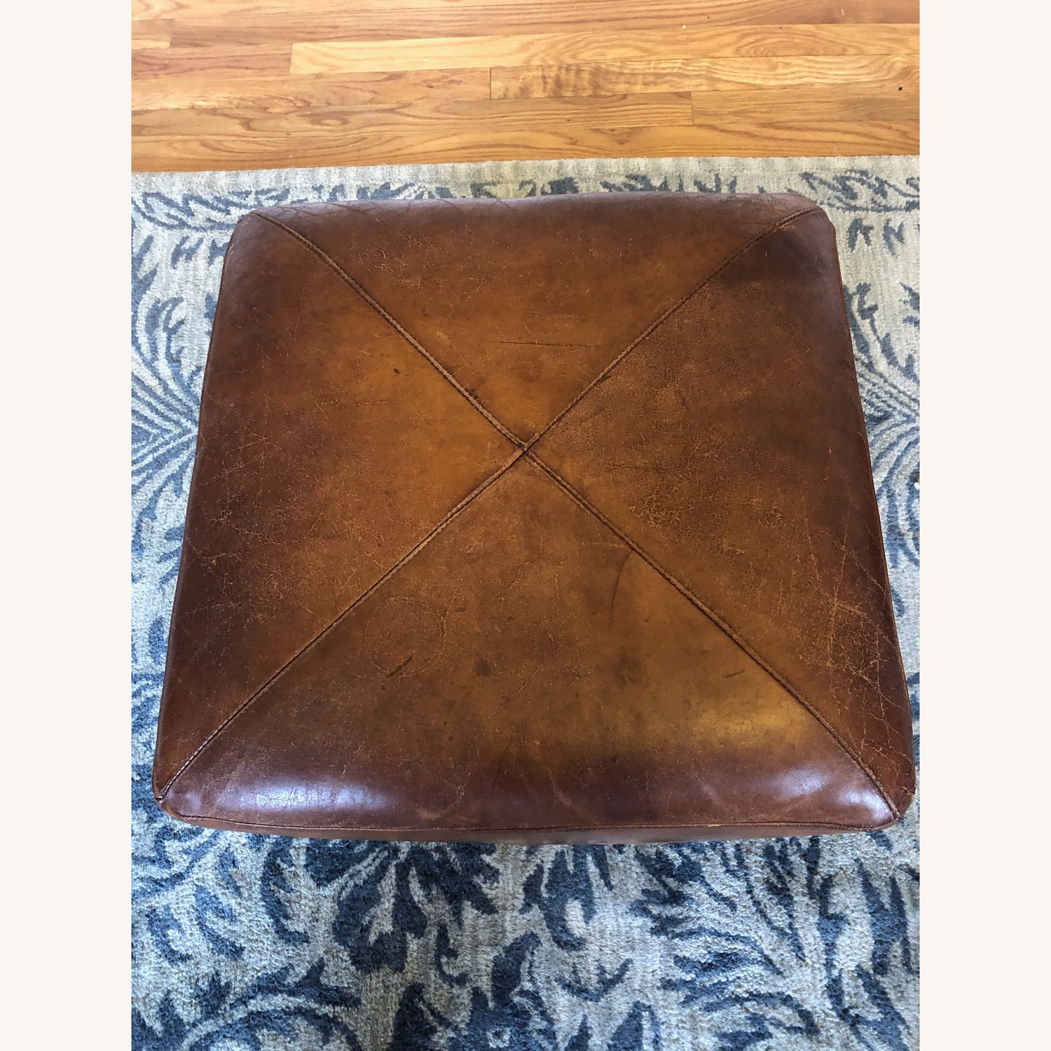 Crate & Barrel Leather Cube Ottoman - image-2