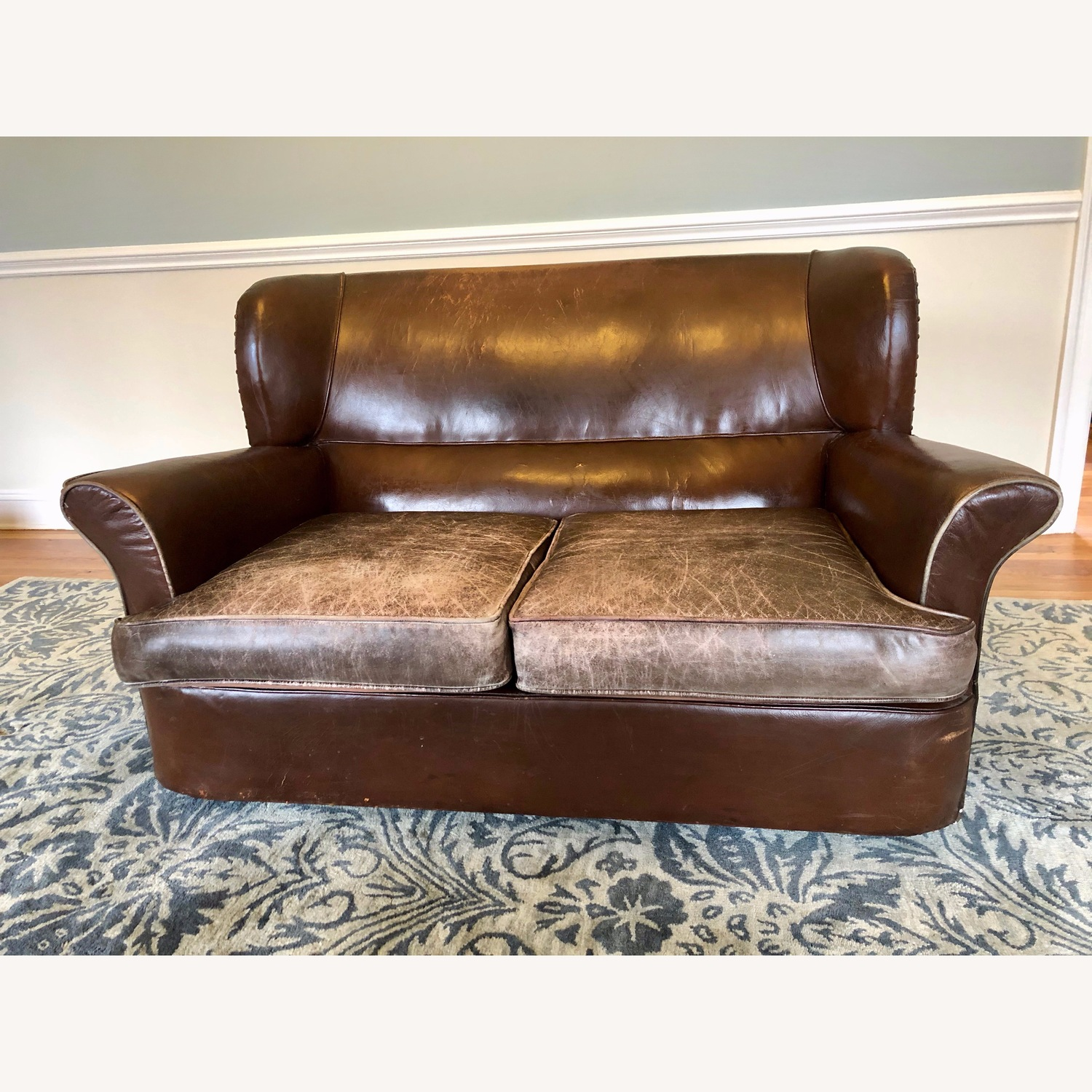 Vintage 1920s French Leather Sofa - image-1