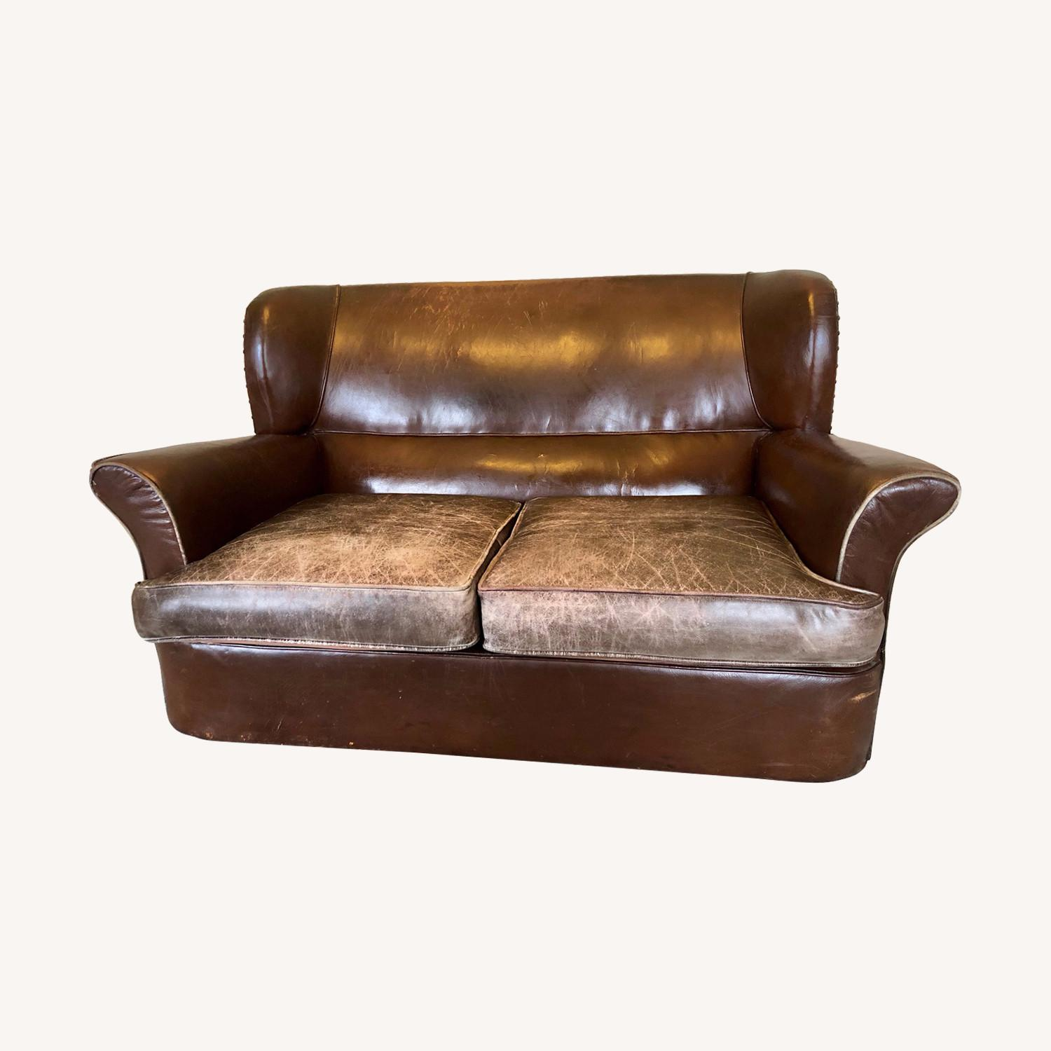 Vintage 1920s French Leather Sofa - image-0
