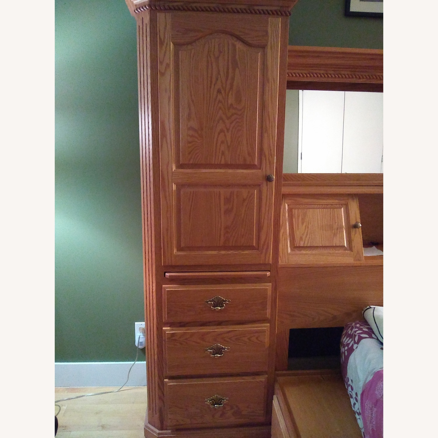Solid Wood Bookcase with 3 Drawers - image-1