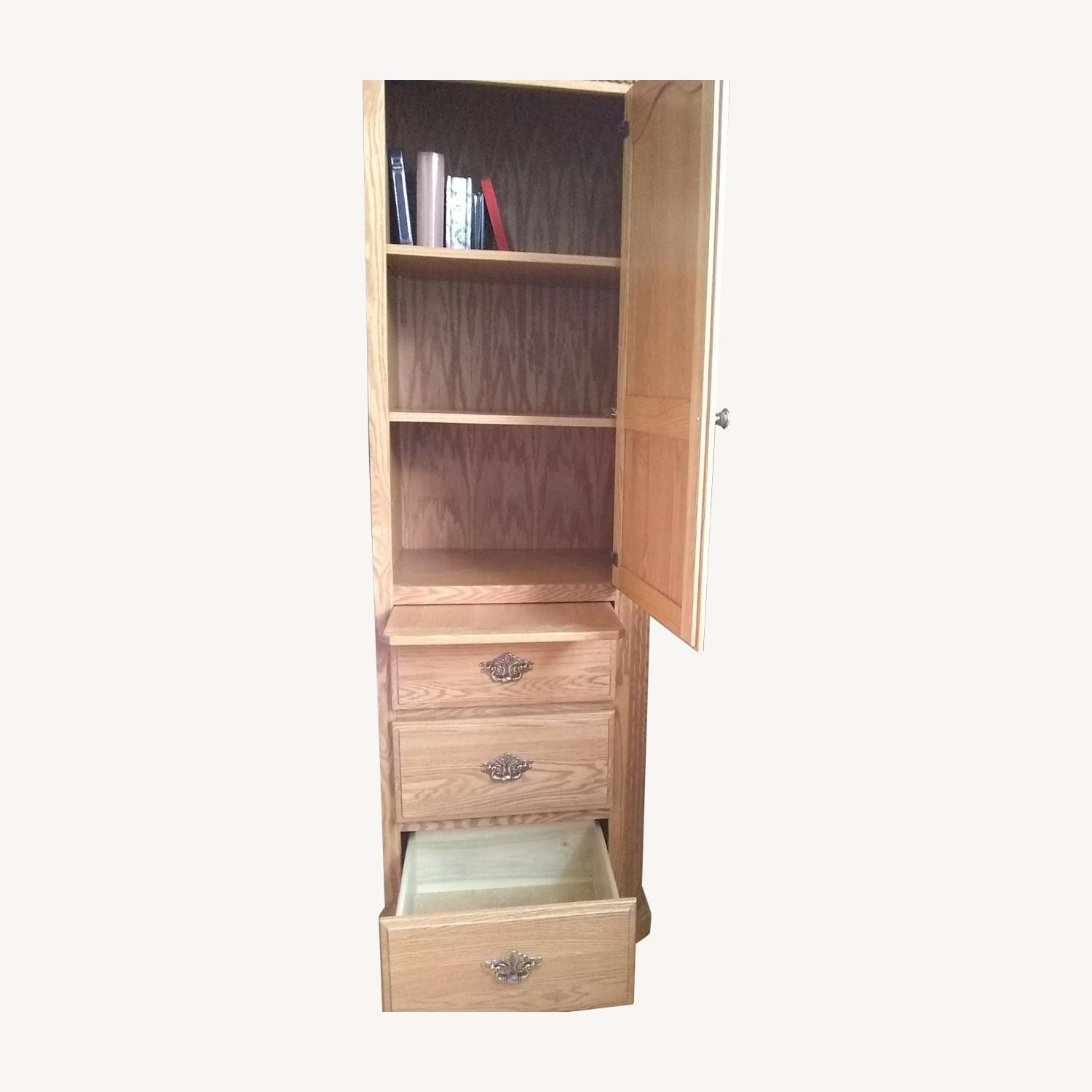 Solid Wood Bookcase with 3 Drawers - image-0