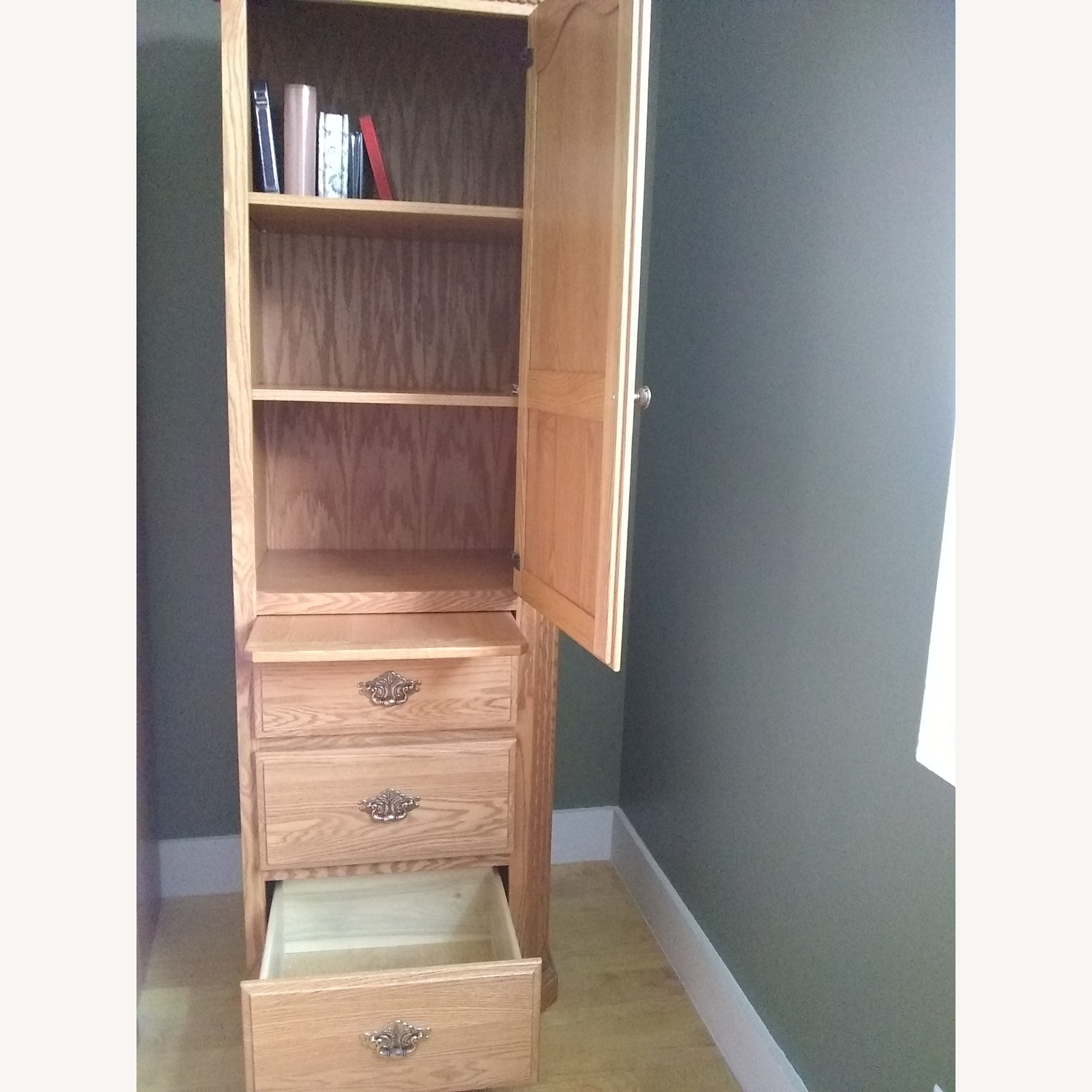 Solid Wood Bookcase with 3 Drawers - image-4