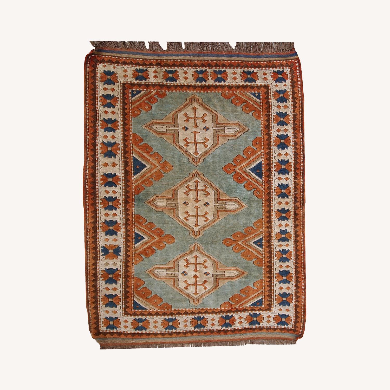 Handmade Vintage Caucasian Kazak Rug - image-0